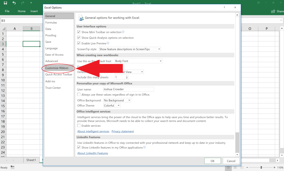 The customize ribbon area of Excel allows you to arrange the ribbon to make navigating Excel easier. You can hide or unhide tabs depending on how you want the ribbon to be displayed.