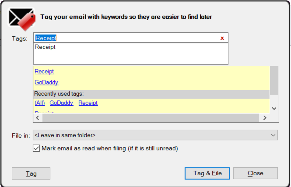 EmailTags TagIt! screen
