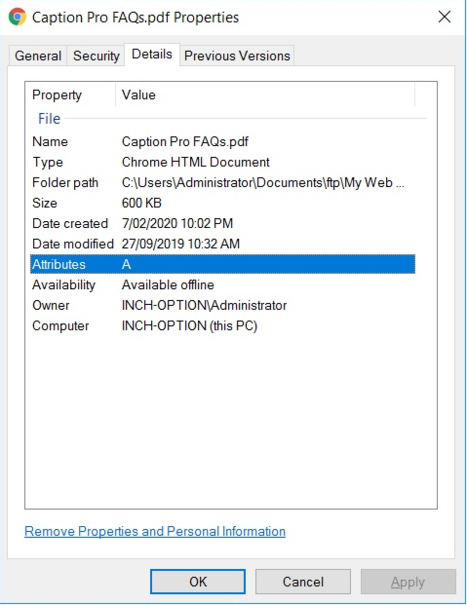 Detail tab of File Properties for PDF file without Property Handler (Native)