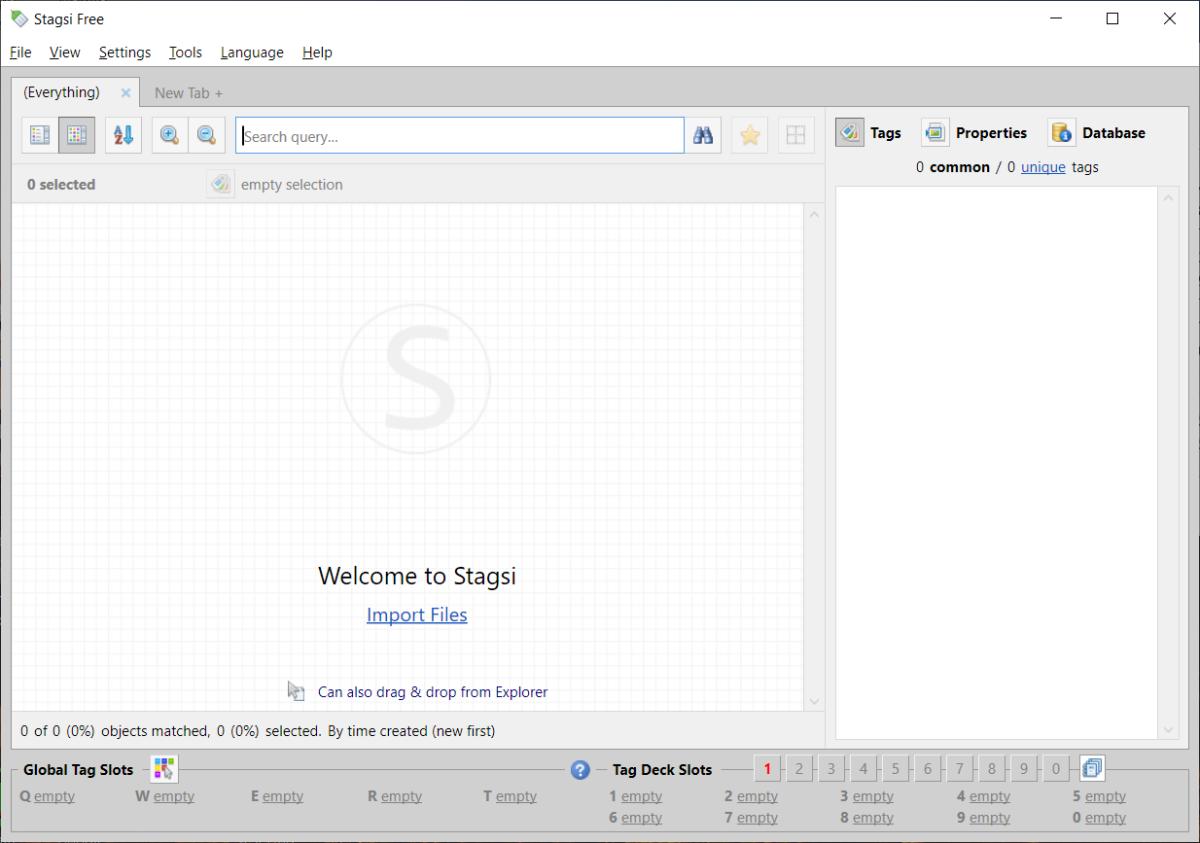 Stagsi start screen
