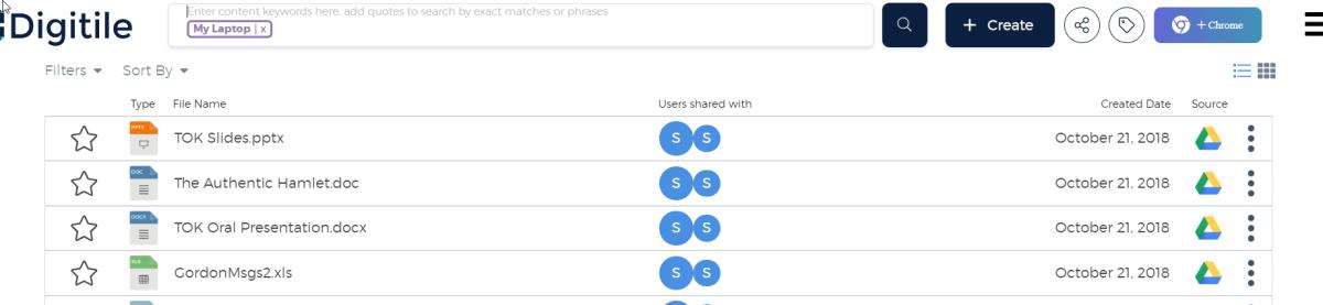 Display of Files Sharing Tag