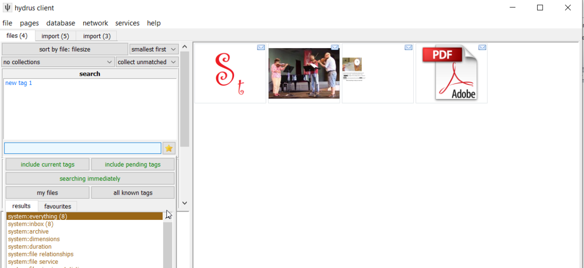 Viewing thumbnails of tagged files