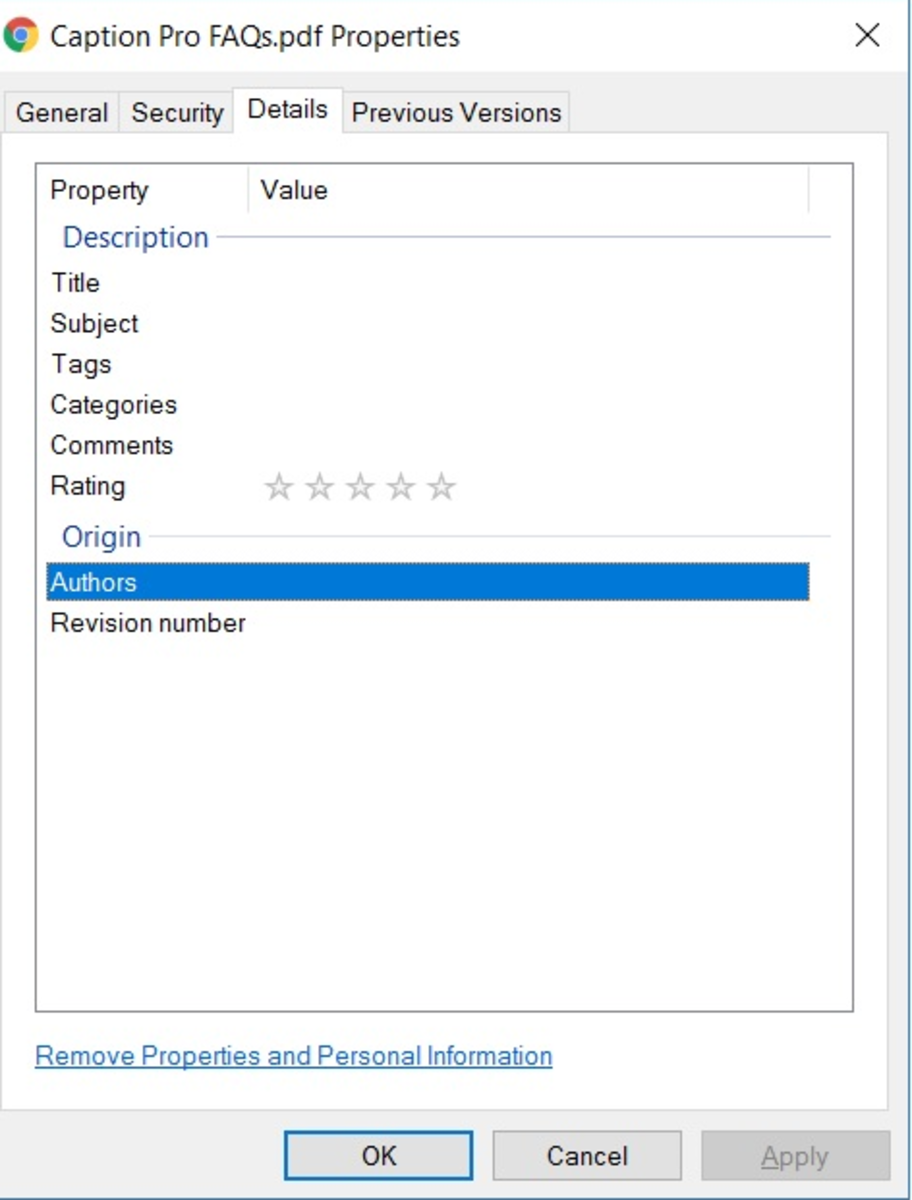 Details tab of file properties after creation of Simple set of editable properties