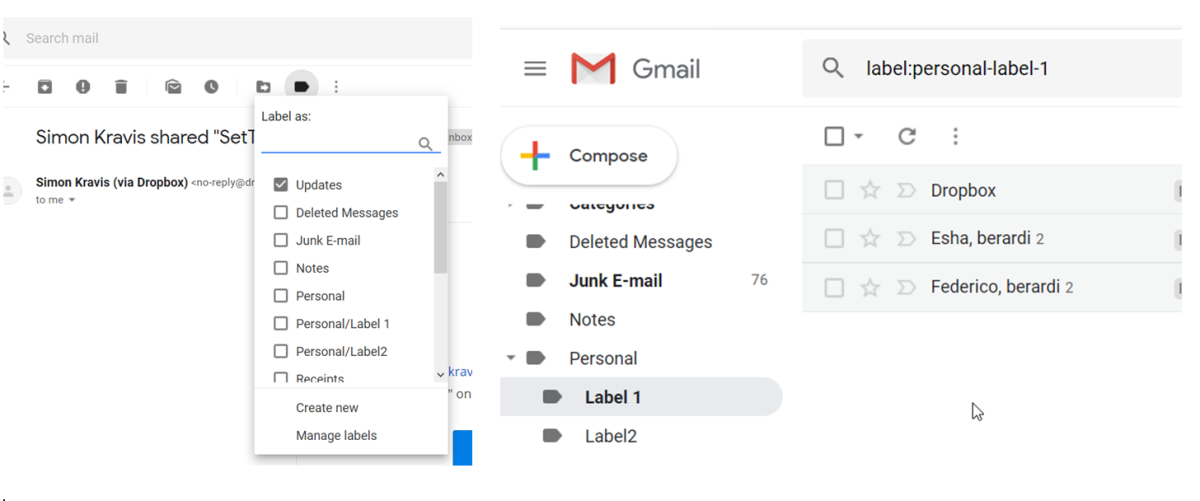Gmail Labelling (left) and filtering by label (right)