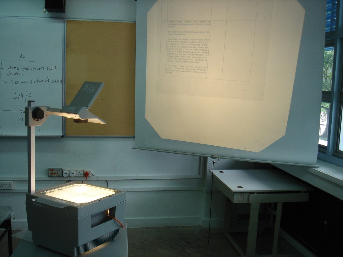 The original projector used in school projected images with light on to a flat surface.
