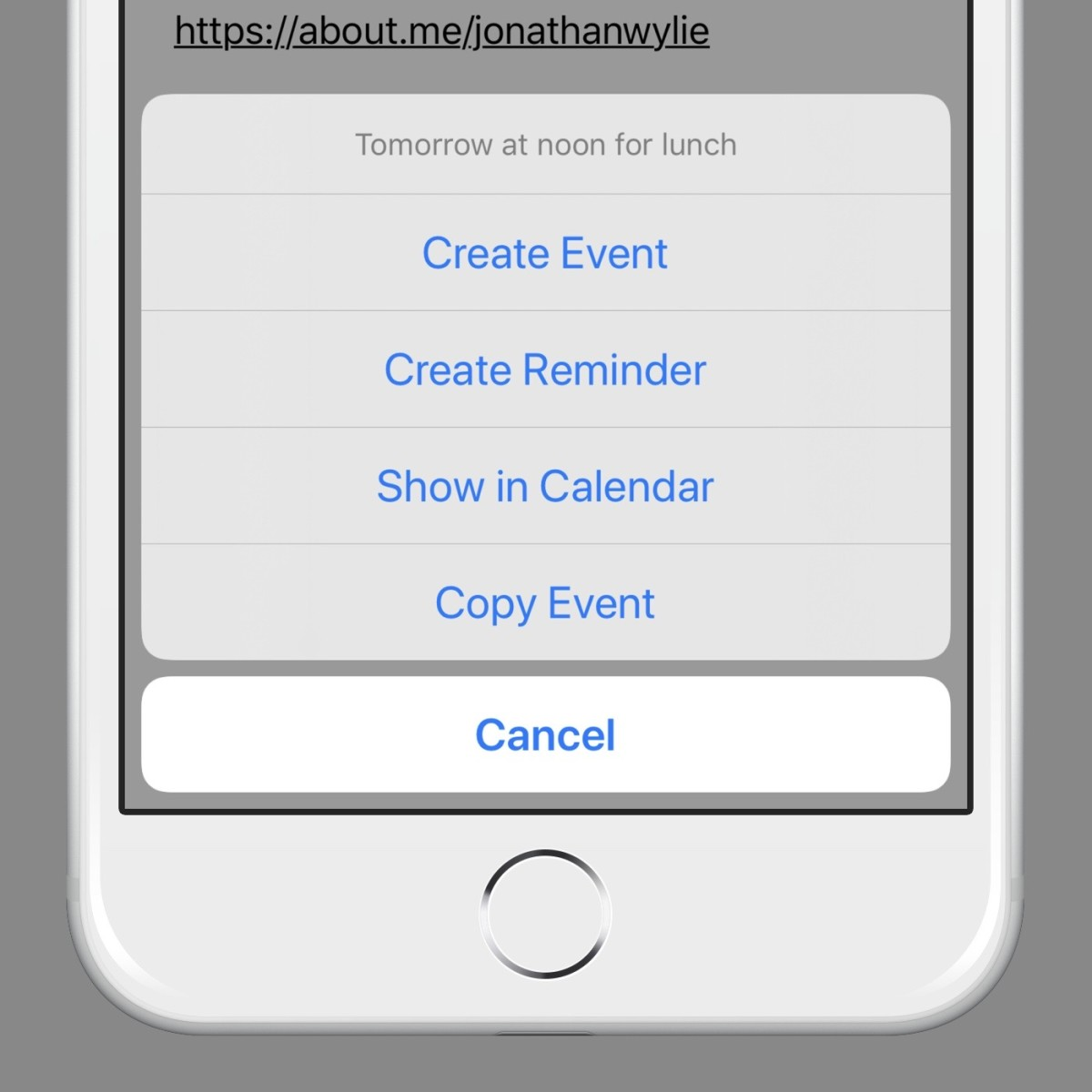 Creating calendar events in Mail can be done in just a couple of taps