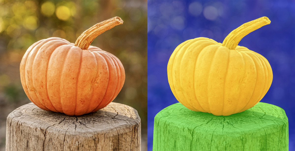 The image on the left is the original image. The image on the right shows three distinct areas of the image. Deep learning image classification algorithms can easily separate an object(yellow) from its background (blue) and foreground (green).