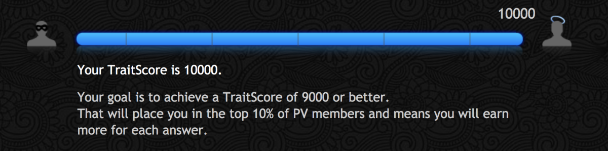 Those with a TraitScore over 9,000 receive better benefits from their surveys