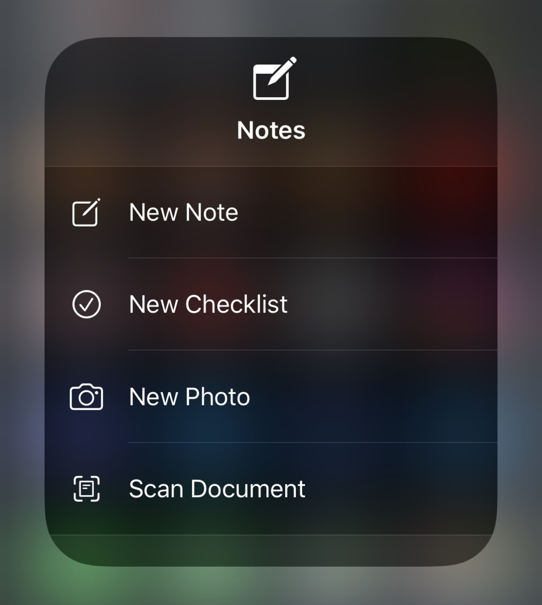 Press and hold the Notes icon in Control Center for some quick note taking options