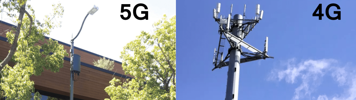 The contrast between a small 5G tower on a light pole (left) near humans and a traditional 4G tower (right) that is tall and removed from humans.