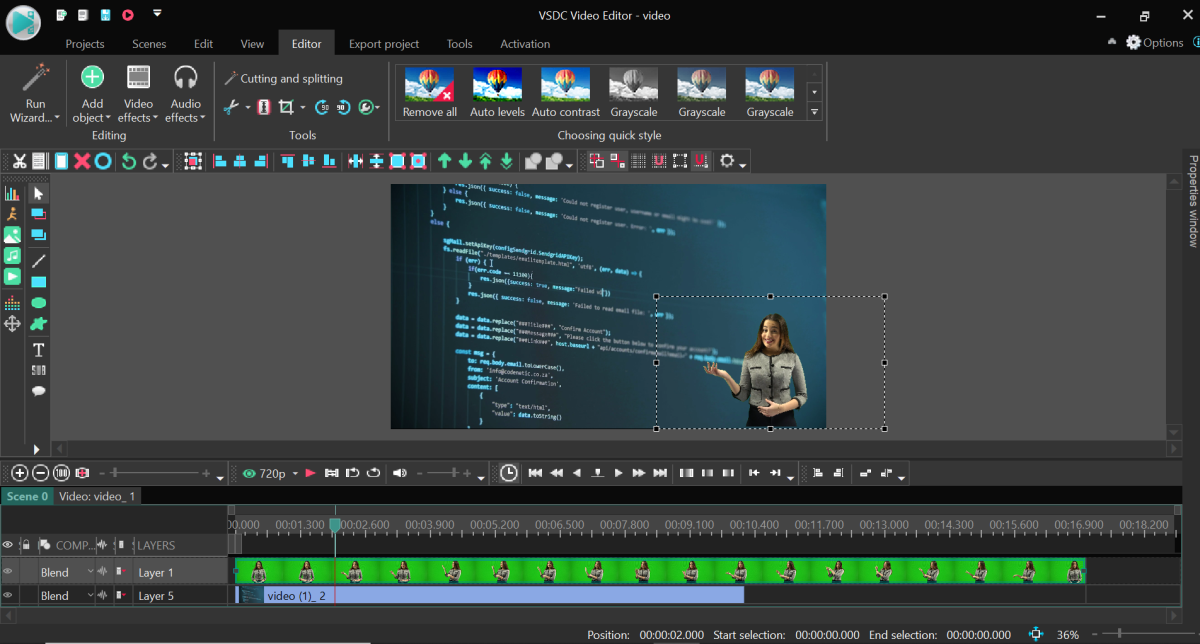 VSDC is a free editing program to help you make a video tutorial