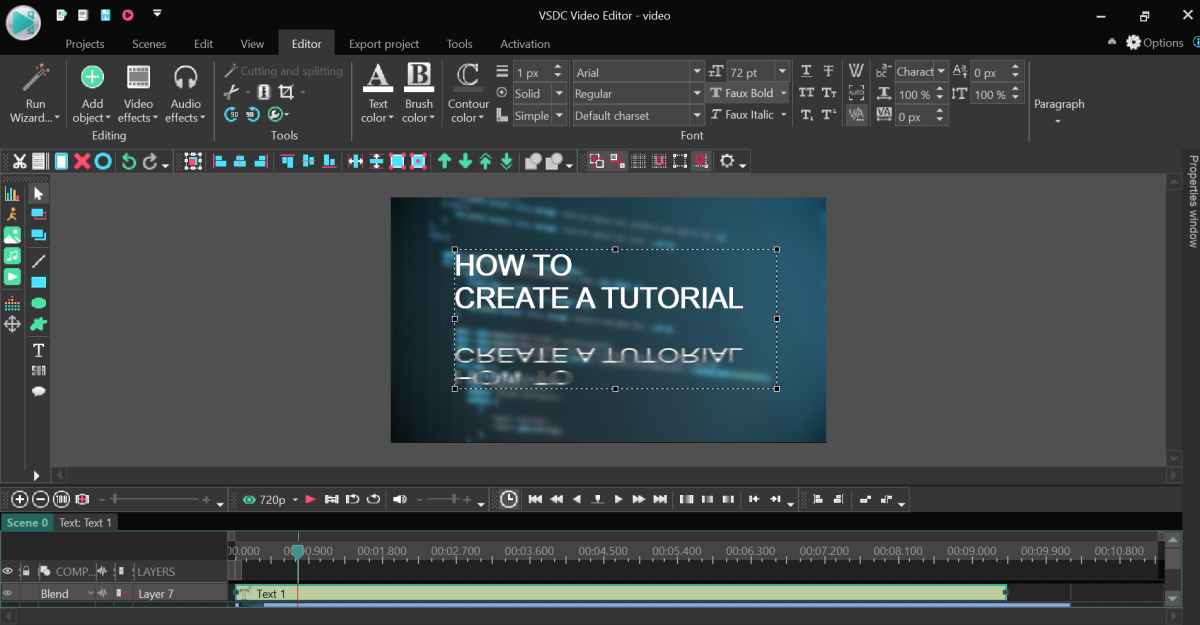 Basic text title, mirror effect applied in VSDC Free Video Editor