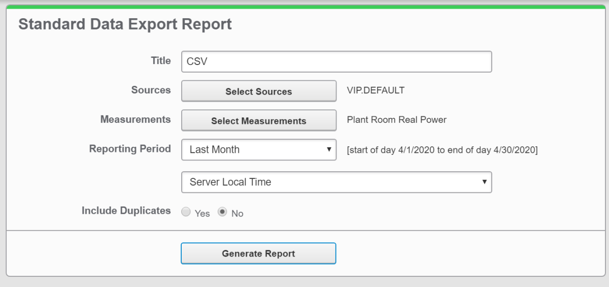 Report generation in Power Monitoring Expert - Inputs to reports in PME cannot be edited.
