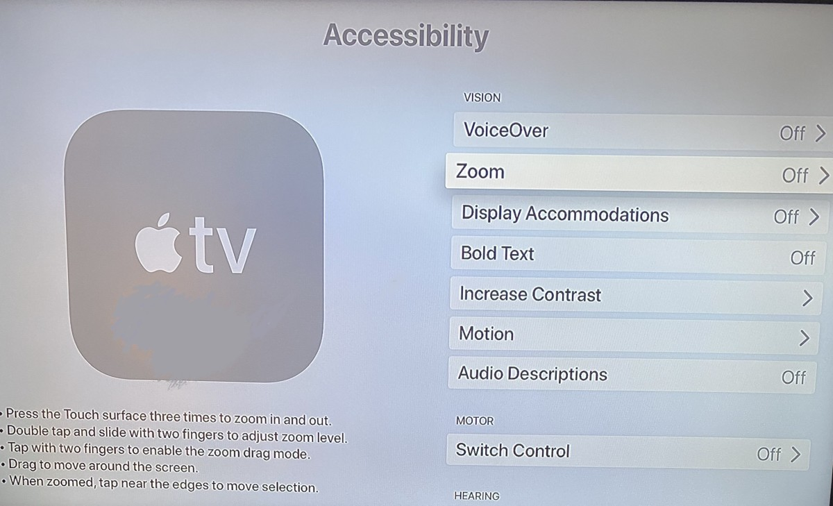 Apple TV Zoom