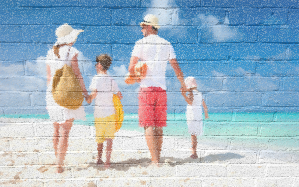 Wall painting effect. Transparent photo on top of a wall picture.