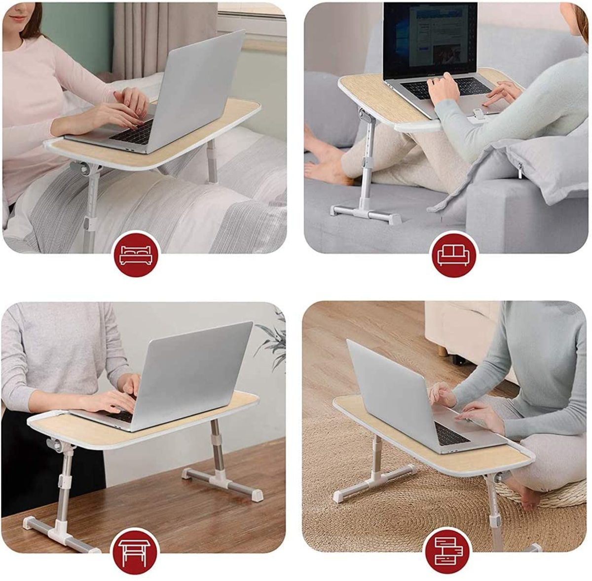 The TaoTronics Laptop Desk for Bed is a very versatile lap desk that you can adjust to suit your needs. I suffer from some back and neck issues and this product has been great for relieving the problem. Tilt and height can be adjusted to suit needs.
