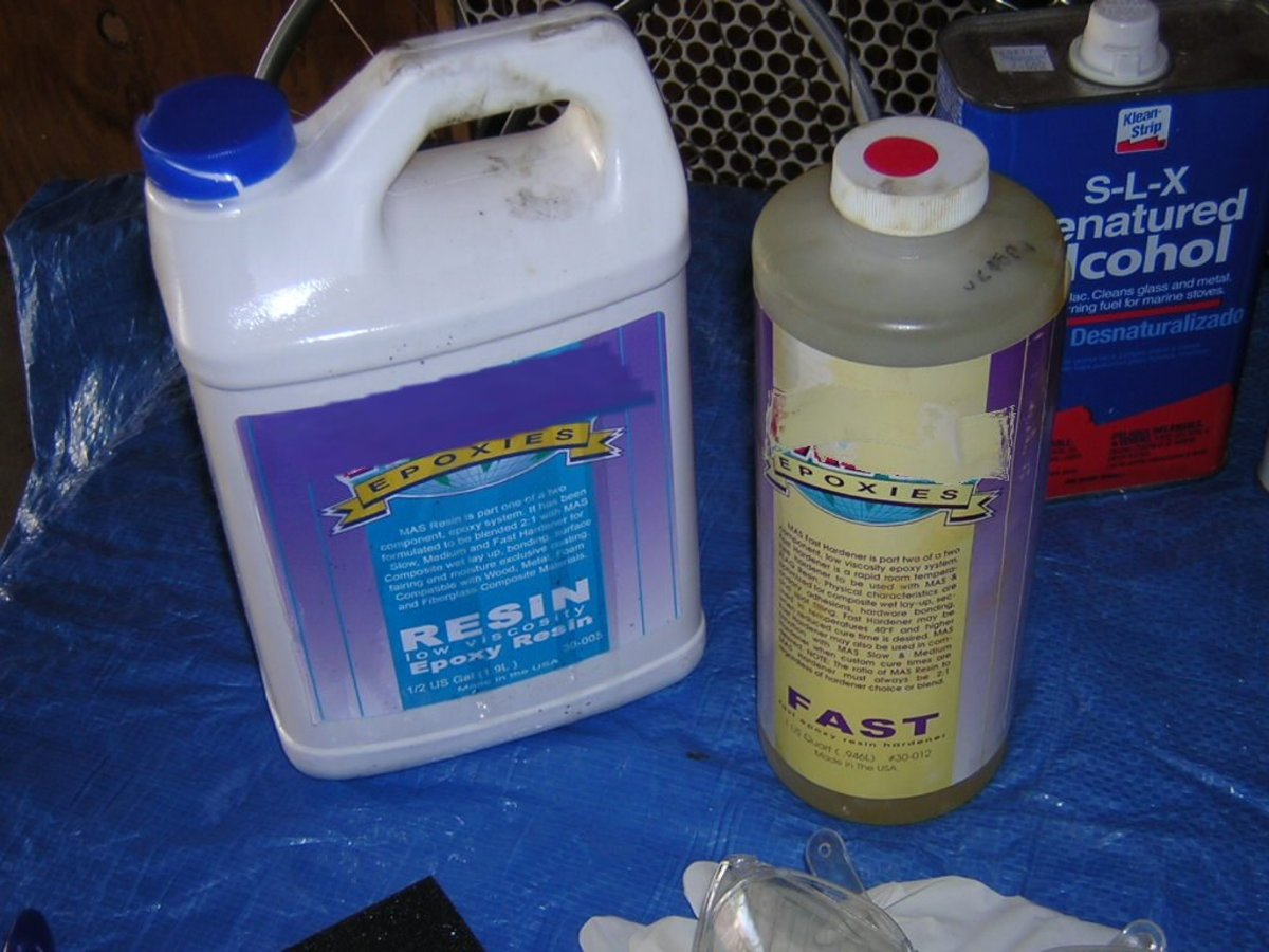 Epoxy Resin & Hardener. Resin is the large container; catalyst the small container.