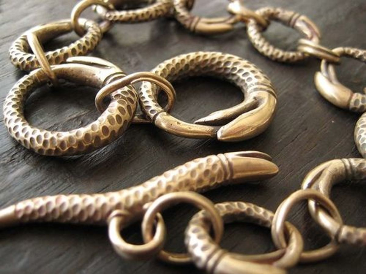 Carved Bronze Snake Chain, photographed by Jennifer Kahn