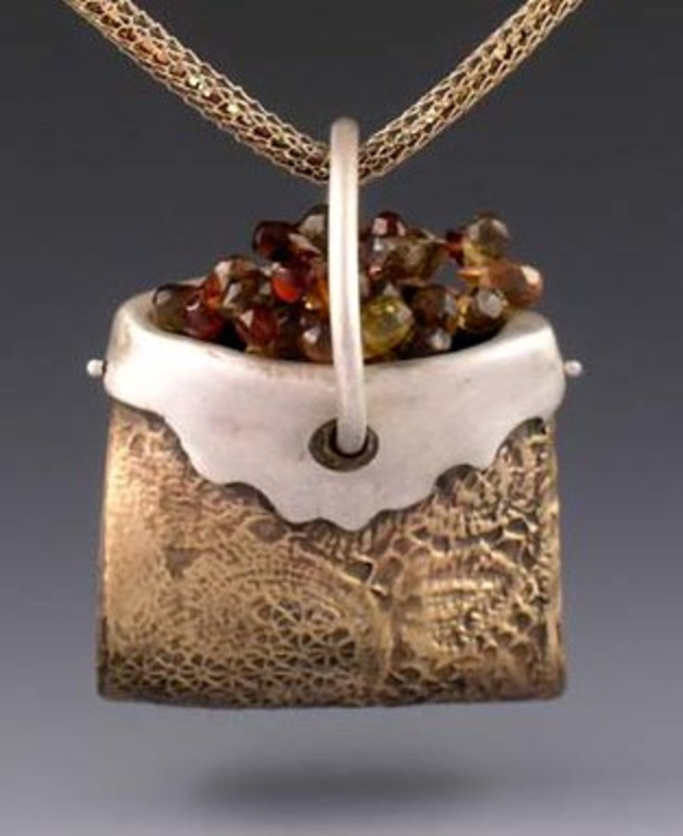 BRONZclay and PMC silver clay bag with garnet beads