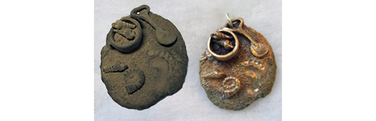 BRONZclay beach charm before and after firing to show shrinkage