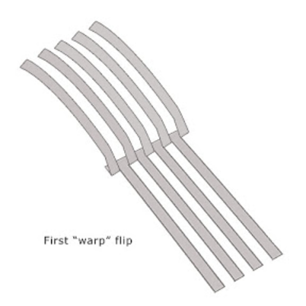 "Flip back alternating warp strips - ""flip and skip"" metal clay weaving technique"