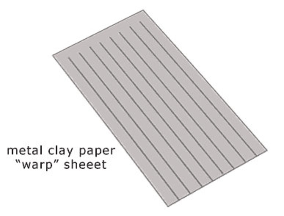 Prepared metal clay warp sheet, ready to be woven