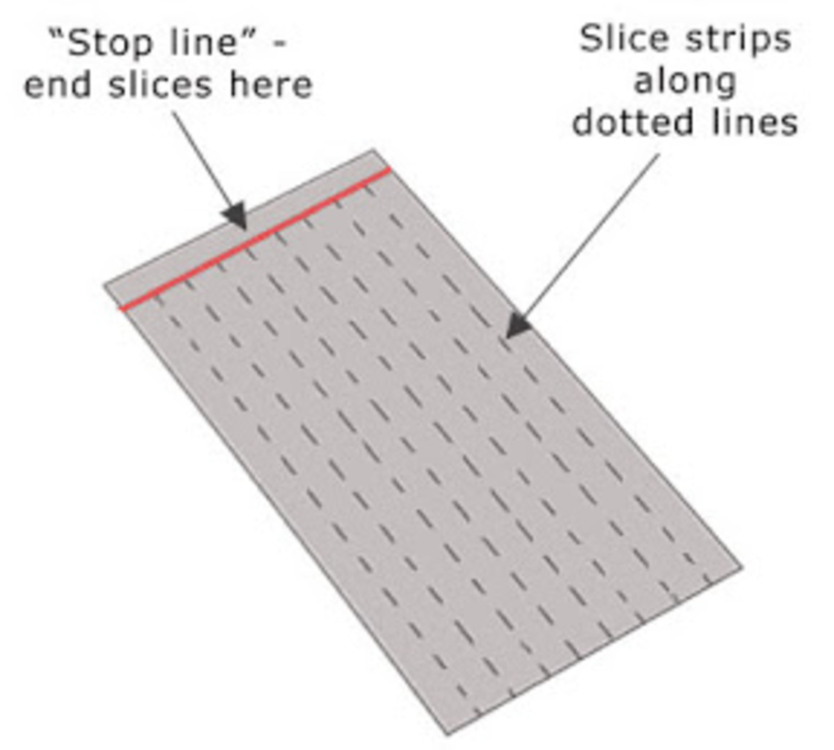 Metal clay weaving - warp sheet with lightly penciled stop line and optional cutting guidelines.