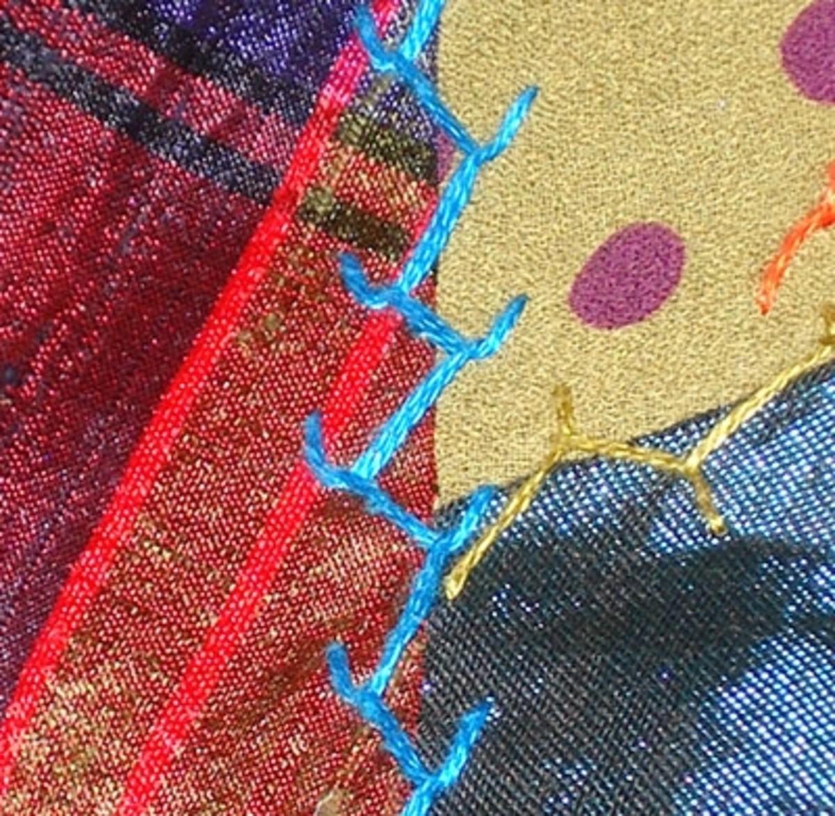 Slanted feather stitch
