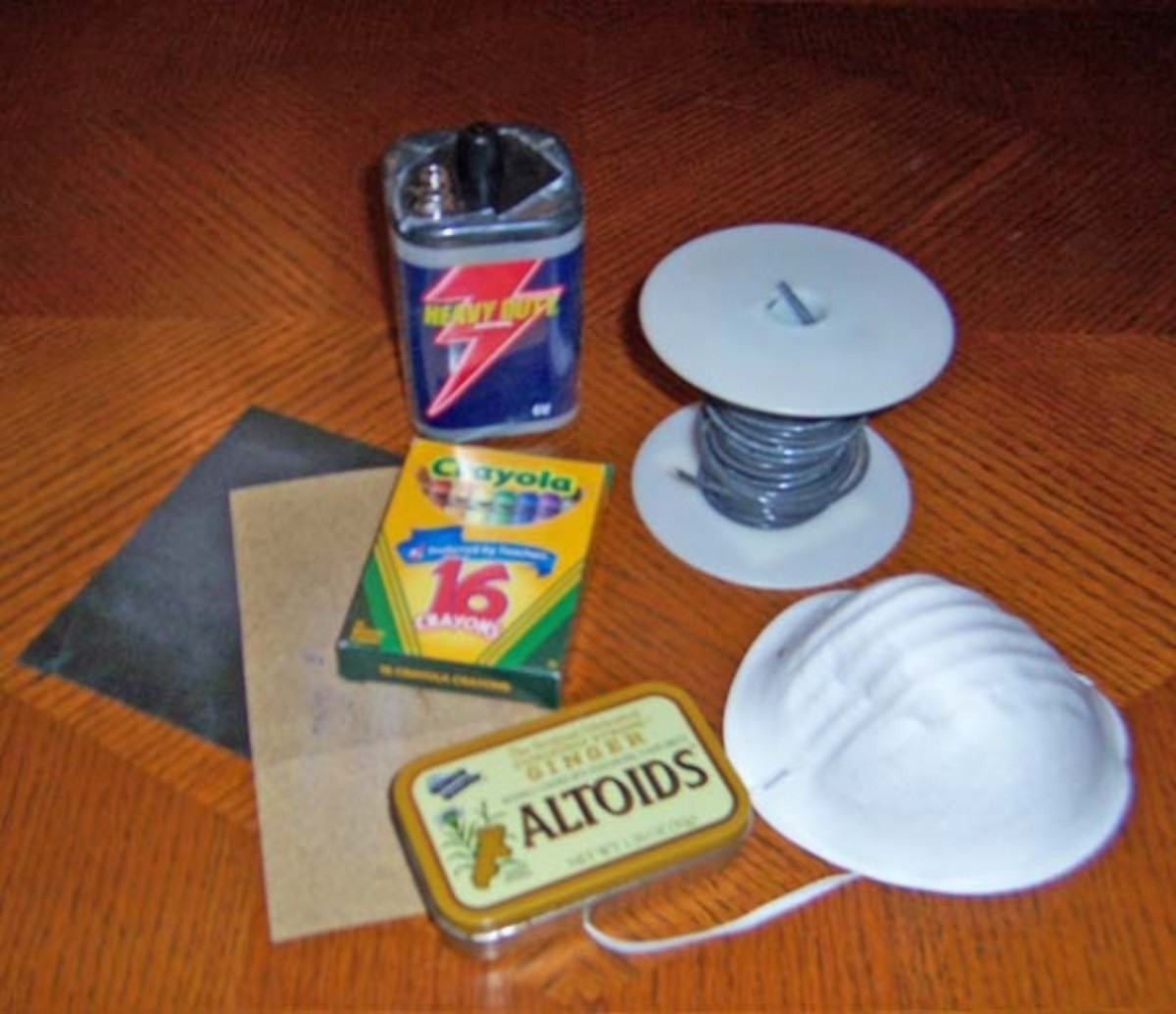 Supplies for etching candy tins with saltwater and electricity