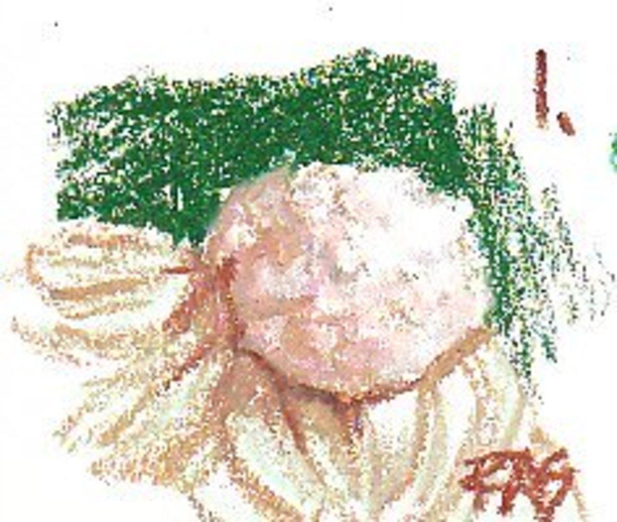 Cauliflower Study, oil pastel on sketchbook by Robert A. Sloan