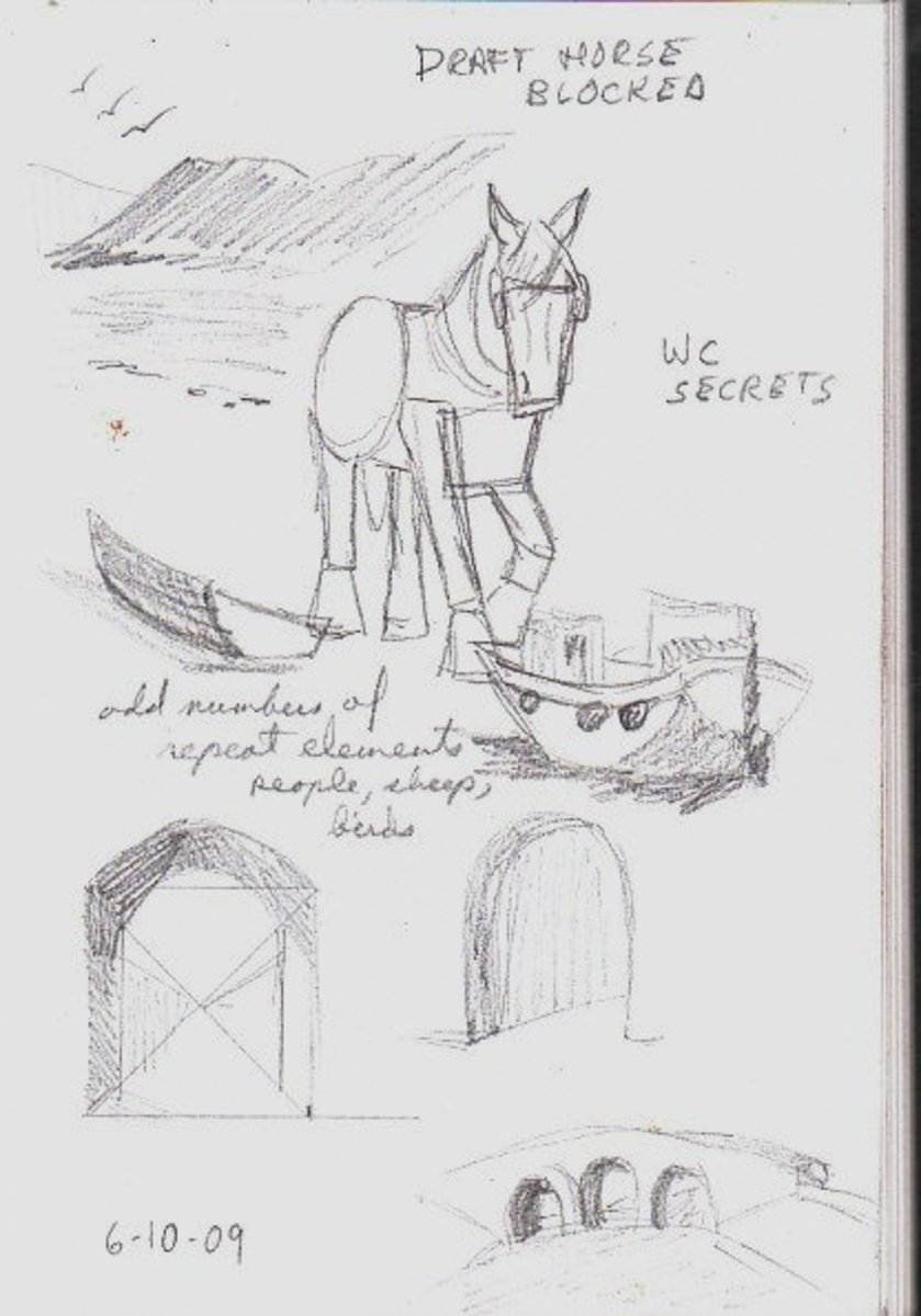 Drawing notes from Watercolour Secrets course, by Robert A. Sloan