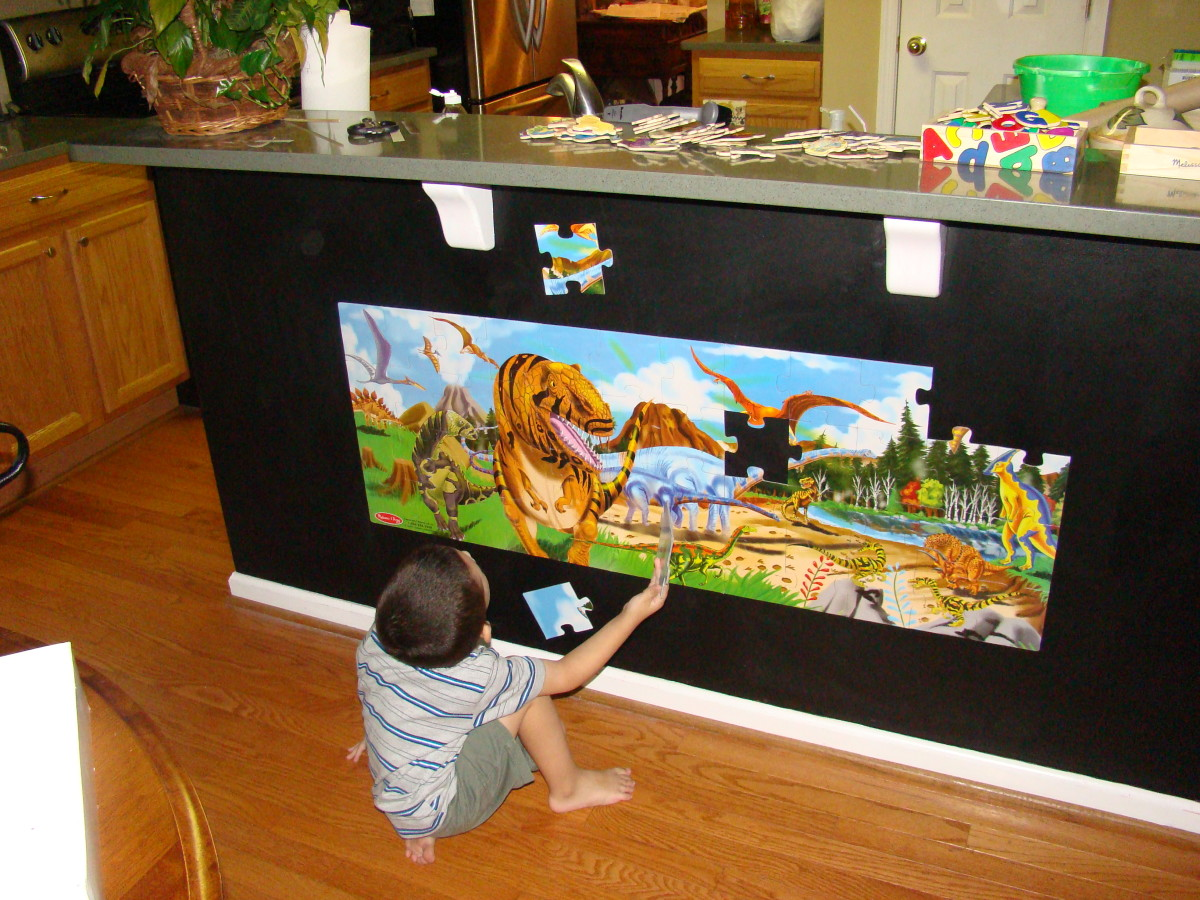 Magnetic puzzles can be slid and centered on the wall when completed, transforming them into instant, interactive wall art.  There are a number of gorgeous floor puzzles available, from undersea images to safari animals.