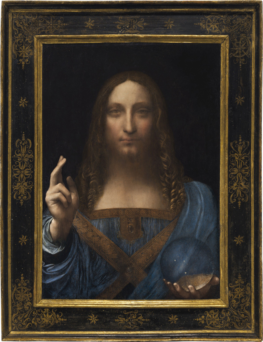 Leonardo da Vinci's Salvator Mundi, c.1500, oil on walnut (framed), broke records when it sold for $450,312,500 at auction.
