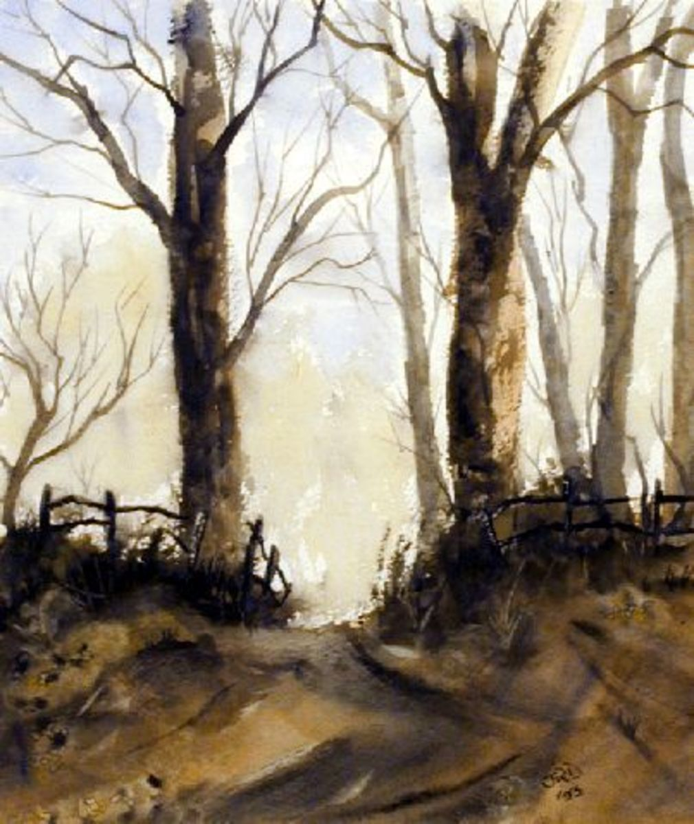 Woodland road, landscape painting