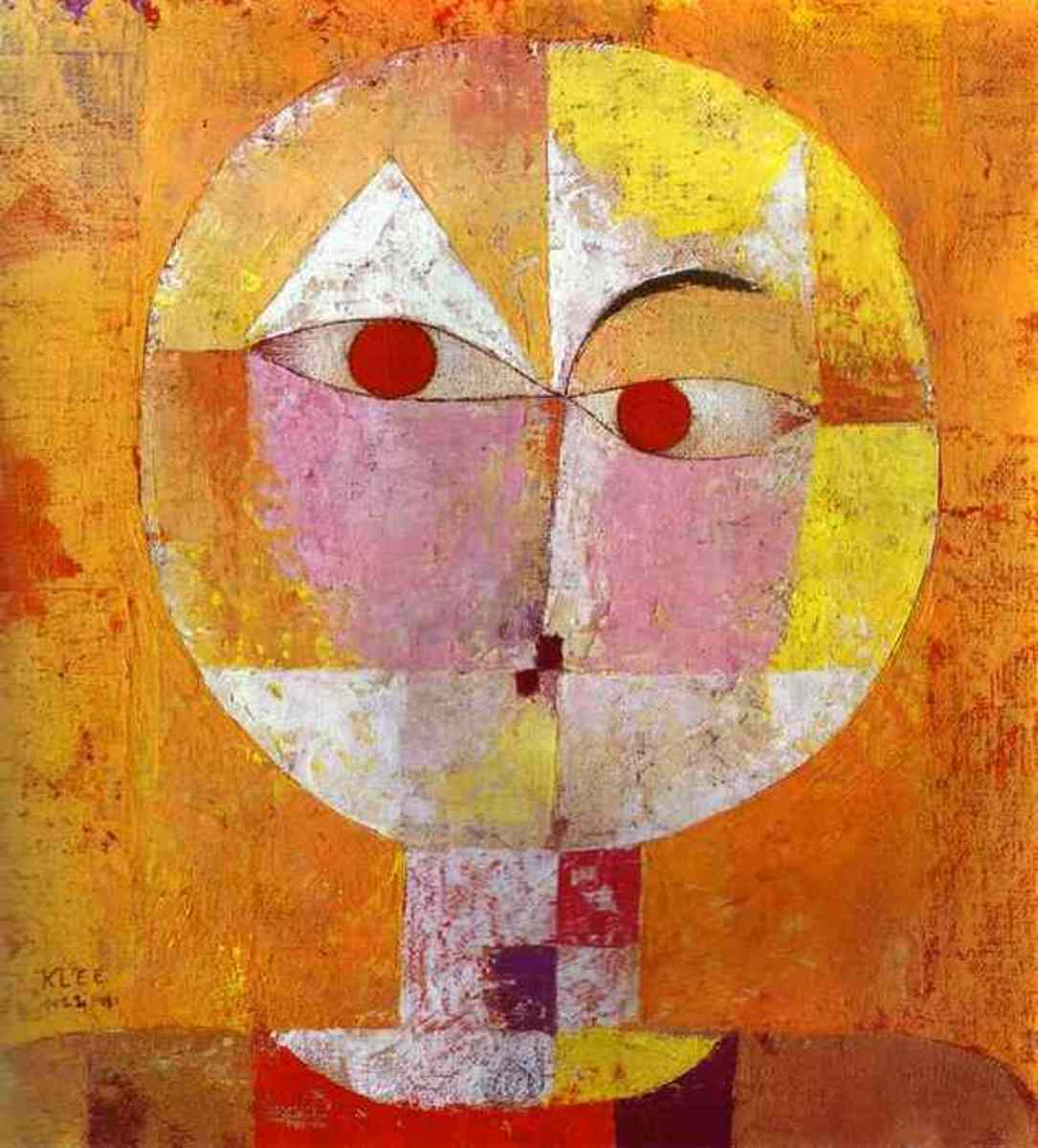 Paul Klee's abstract figure, Senecio (Head of a Man) (1922). Abstracts and figures are both types of art that sell well.