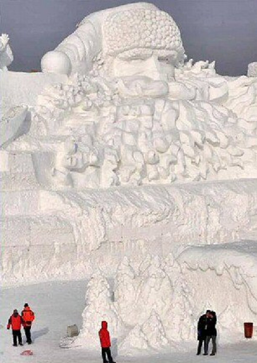 World's Biggest Santa Snow Sculpture (160 meters long and 24 meters high) in Harbin, China.
