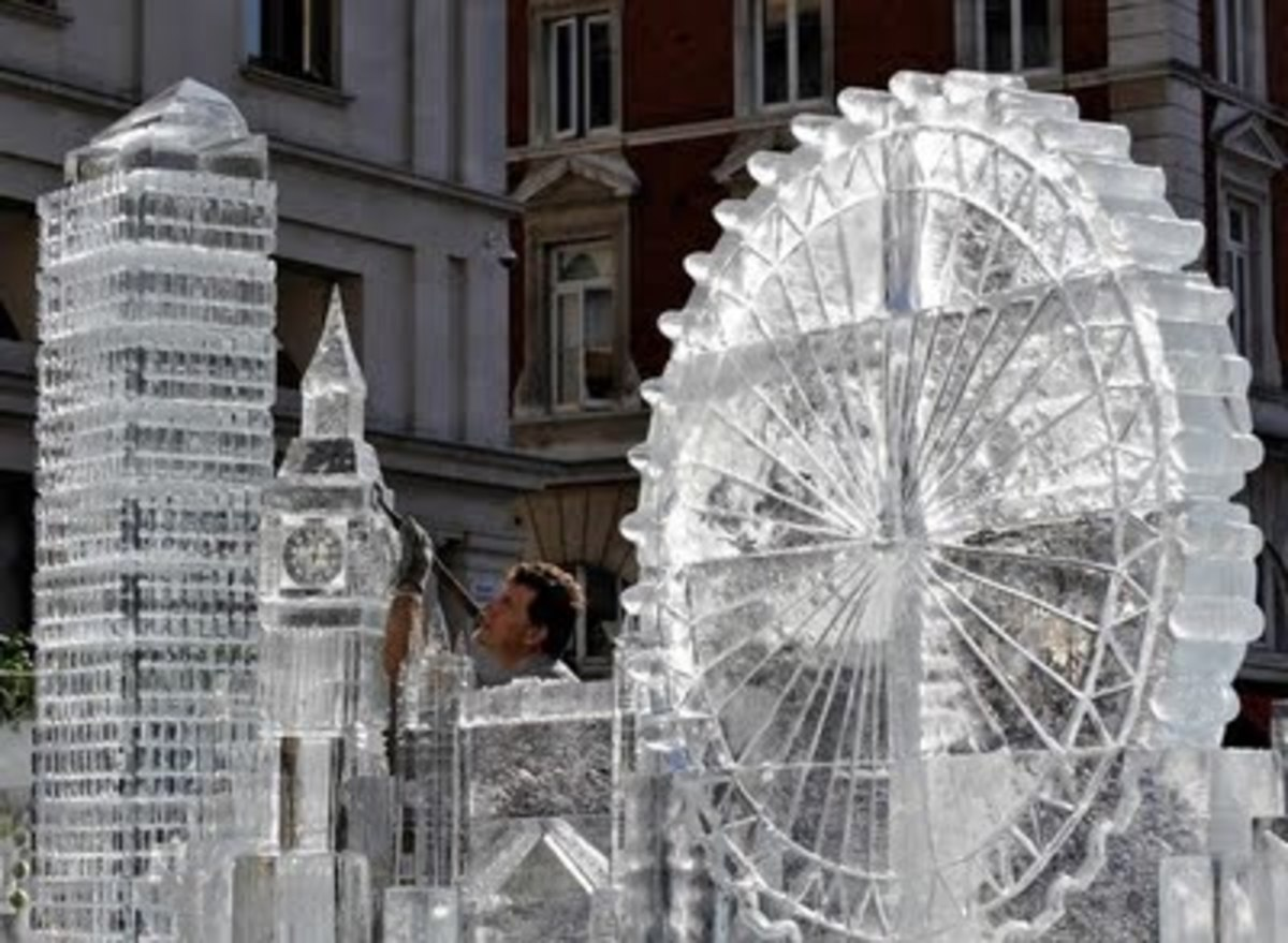 Ice sculpture representation of London's famous landmark buildings at Covent Garden in central London.