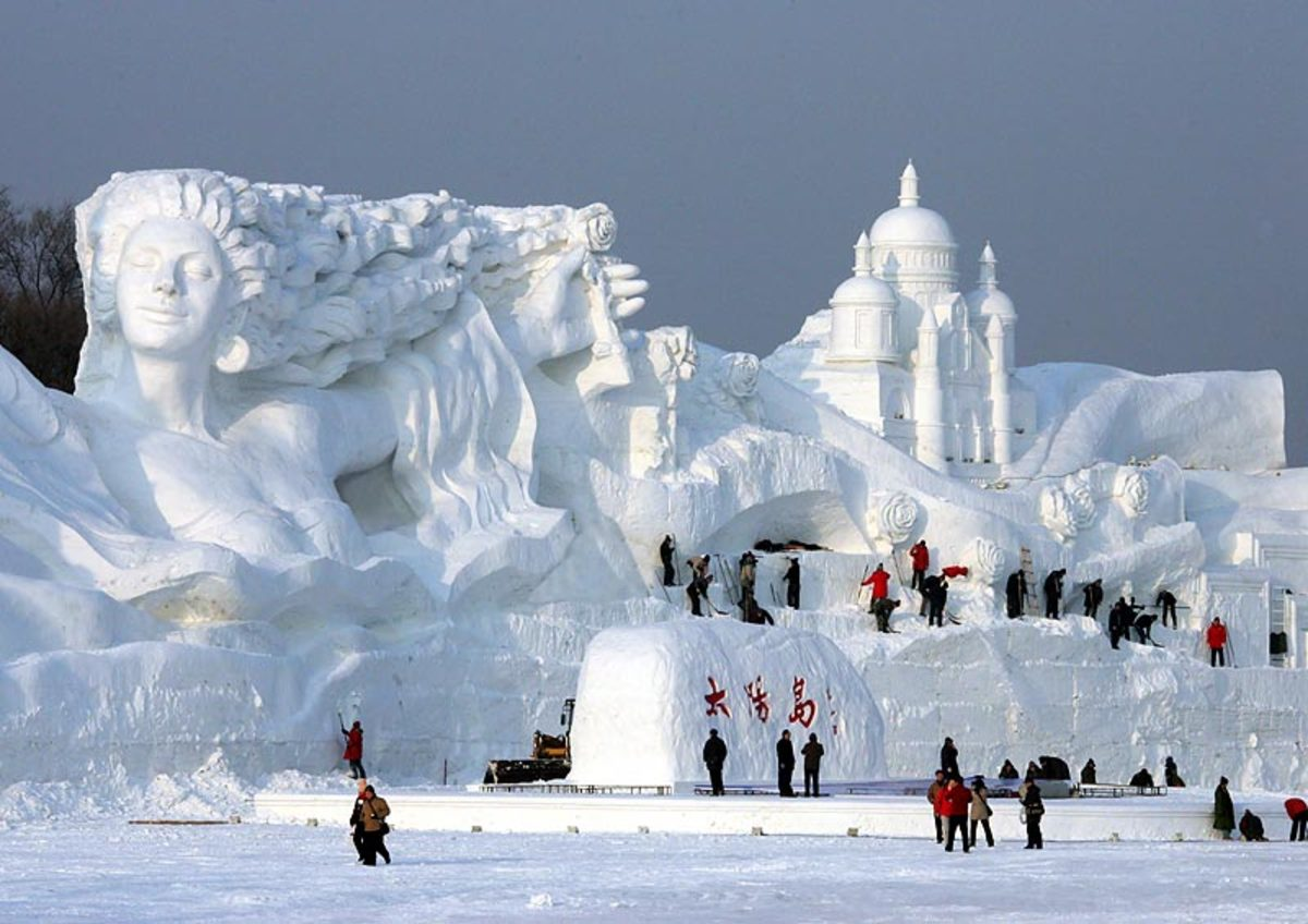 City of Harbin, China: Romantic Feelings is a staggering 115ft high and 656ft long sculpture - the largest snow sculpture ever created.