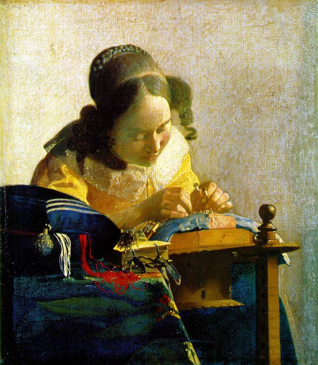 The Lacemaker, Jan Vermeer, painted 1669-70. The Louvre, Paris.