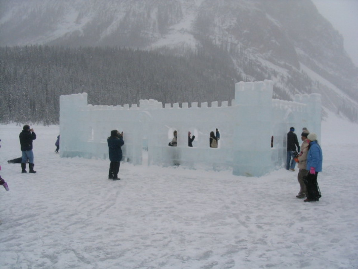 The Ice Castle at the International Ice Sculpture Competition and Exhibition, Lake Louise, Alberta, 2005.