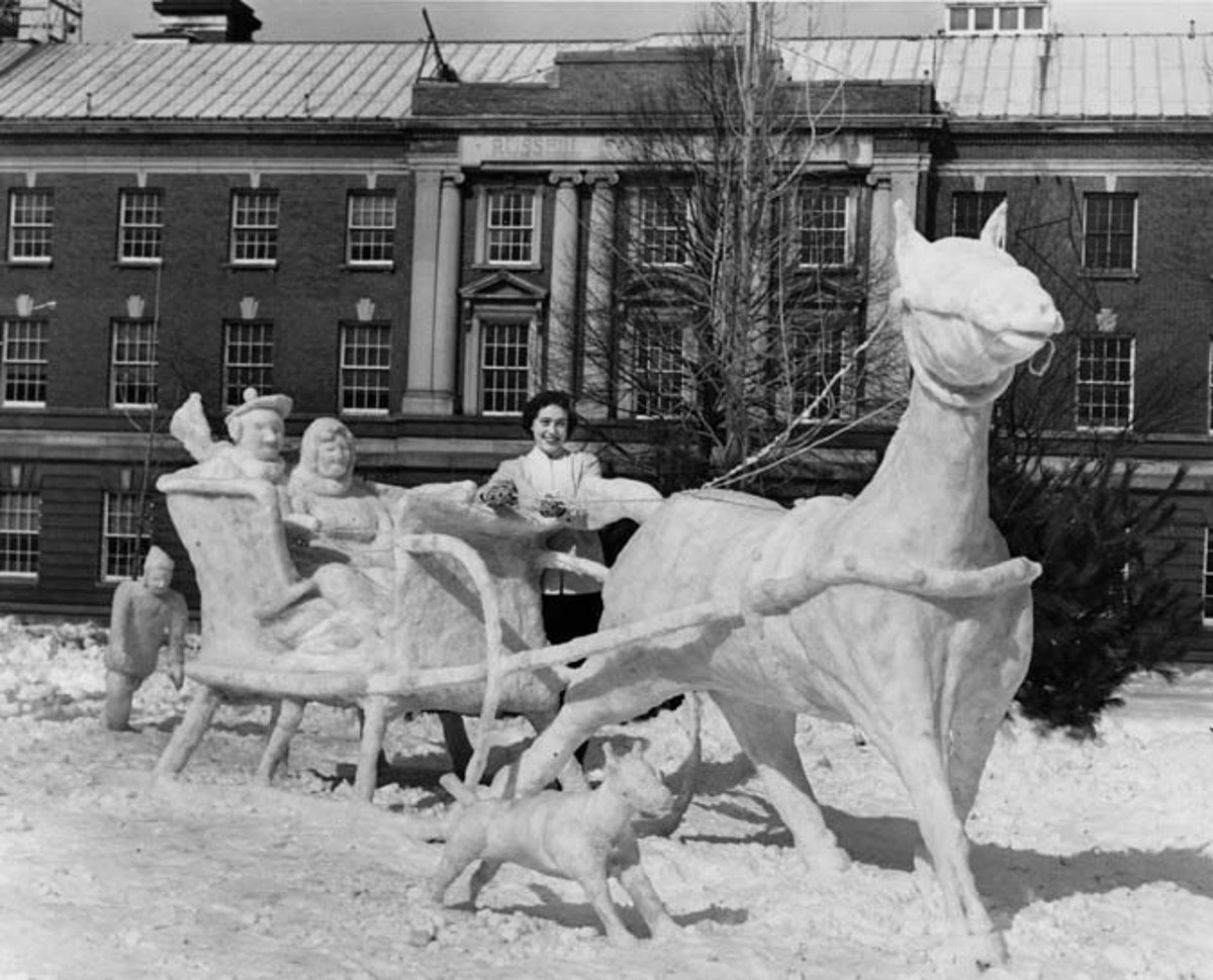 Snow Sculpture entry for the 1952 Winter Carnival contest at Rensselaer.