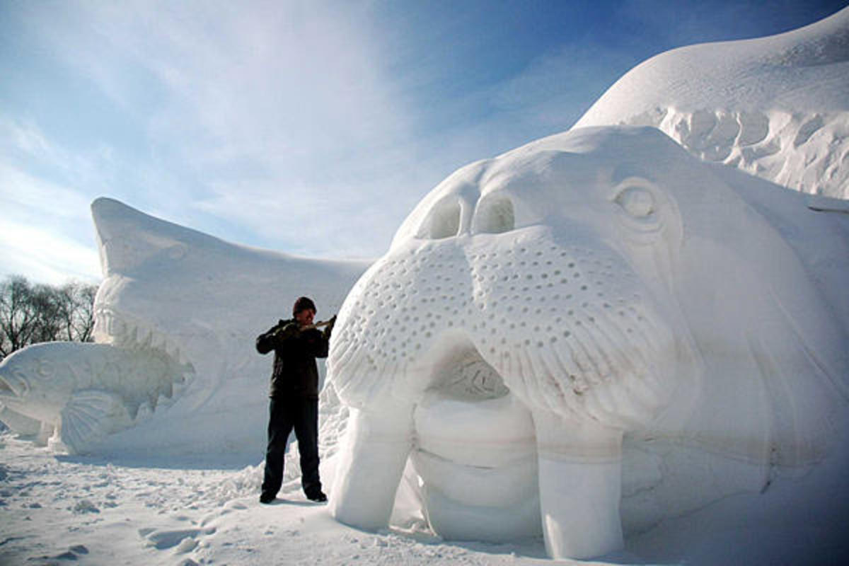 A snow walrus sculpture in Mudanjiang city, northeast China's Heilongjiang Province, 2008.