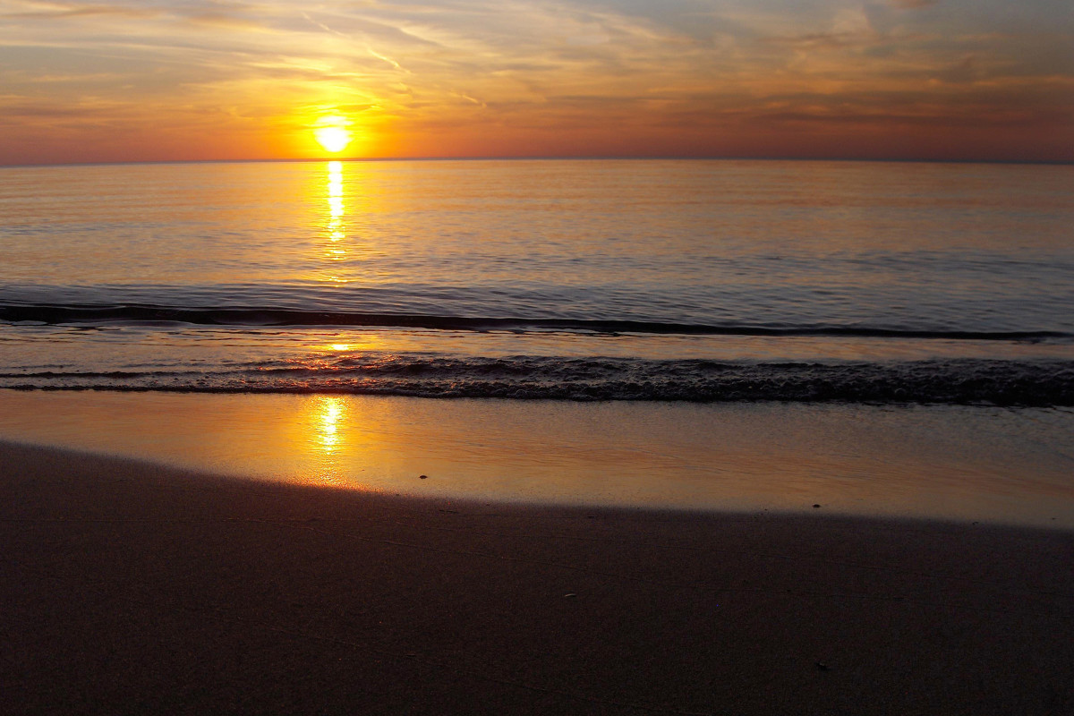 Pier Cove Beach Sunset on Lake Michigan
