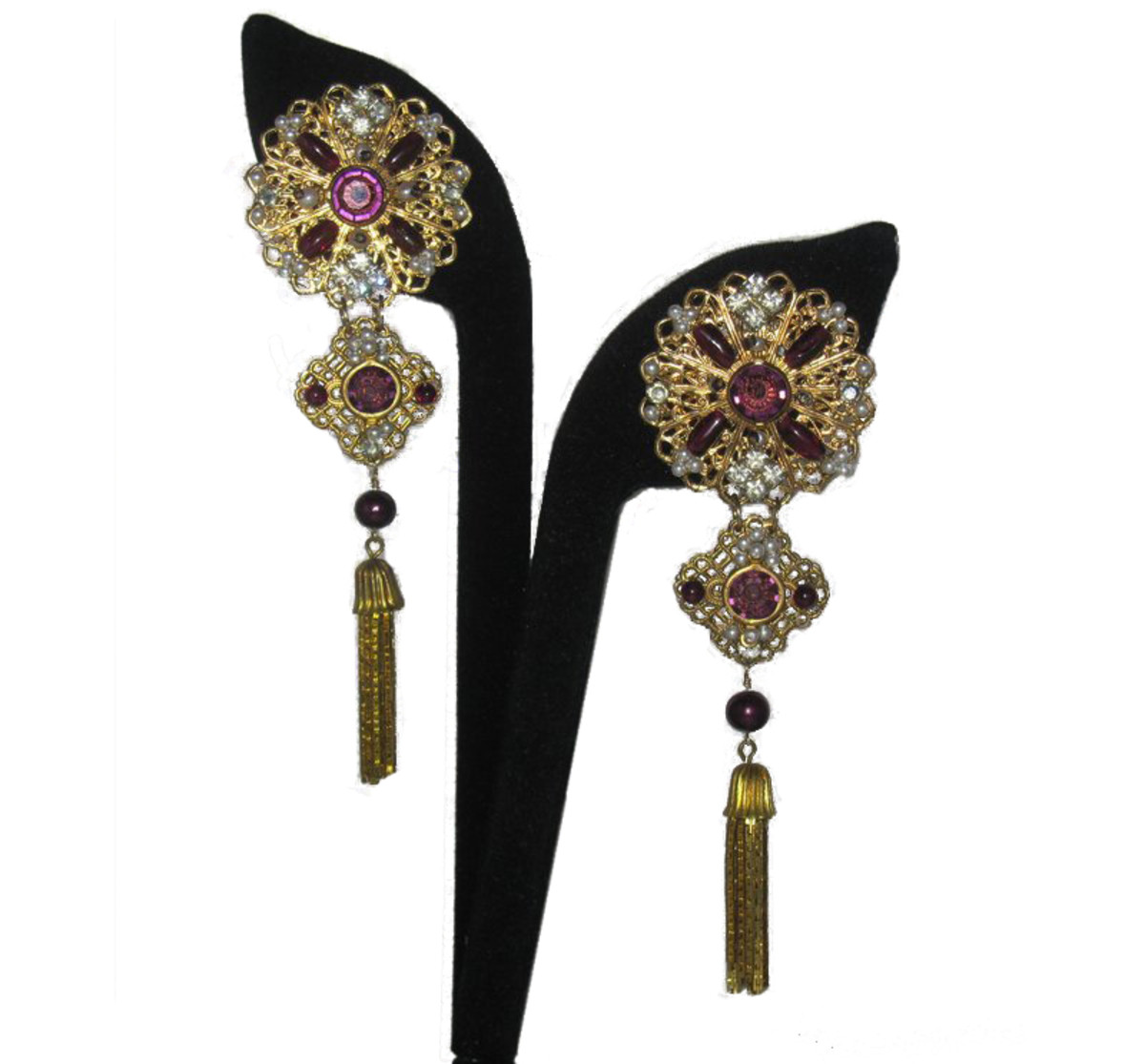 Vintage-inspired, one-of-a-kind, extremely dramatic formal drop earrings, a custom commission for a mother of the bride.