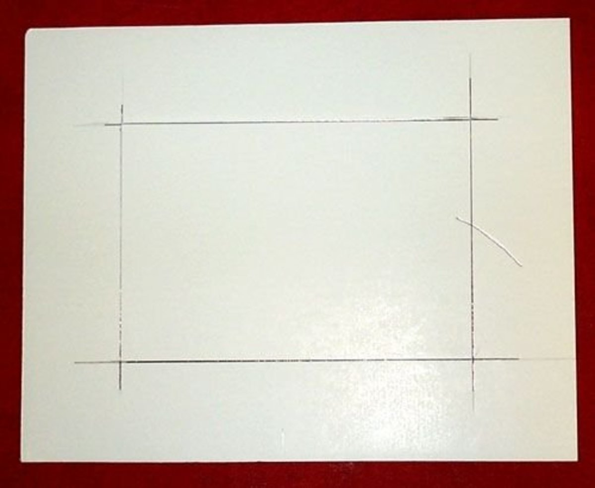 step 1 for stretch mounting a cross stitch creating a foamcore blank how to