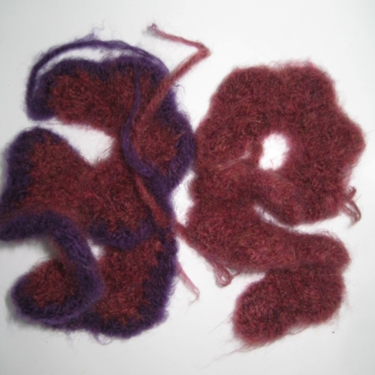 Felted Flower after Felting - With and without 4th row