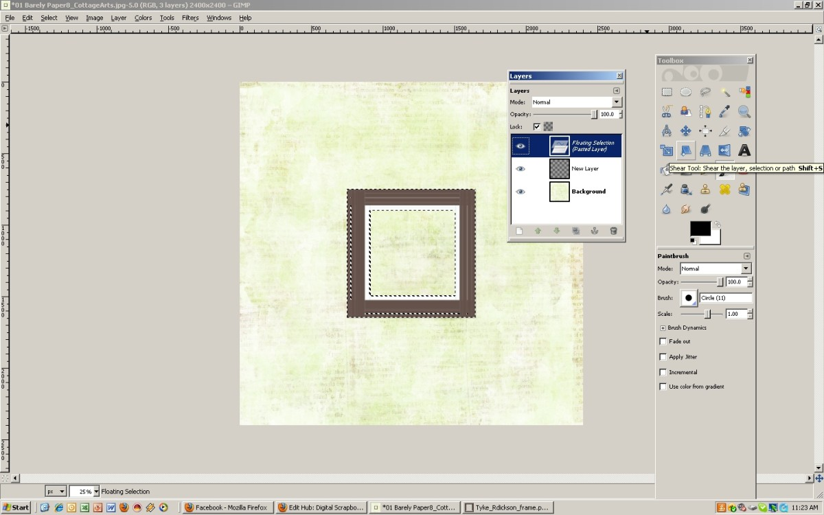 """Add a frame using the """"Layers"""" window"""