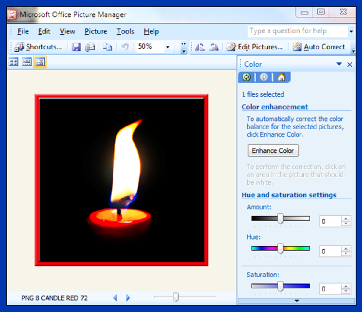 Screenshot 9. Saturating the color in your photo in Microsoft Office Picture Manager
