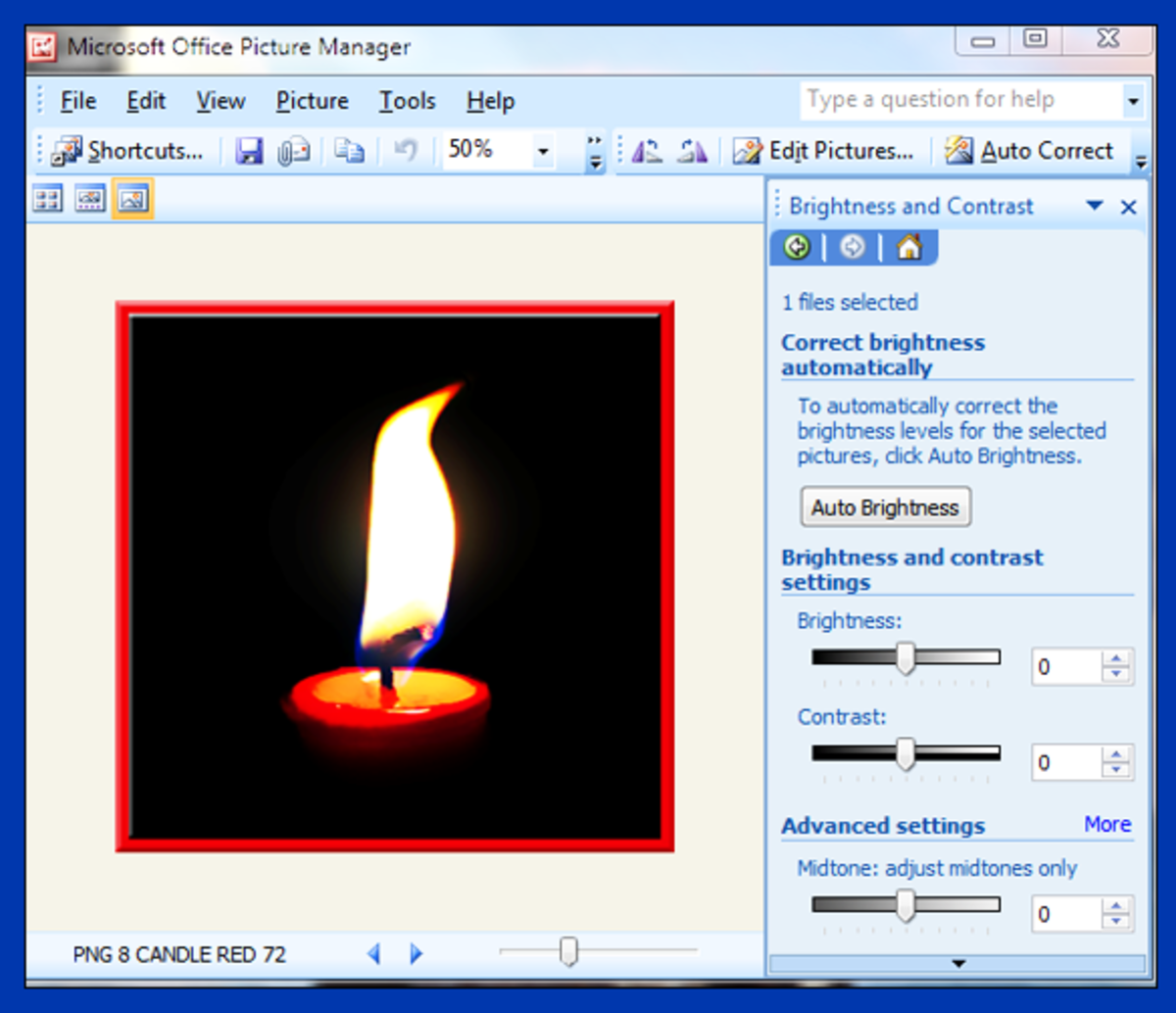 Screenshot 7. Brighten your photo in Microsoft Picture Manager
