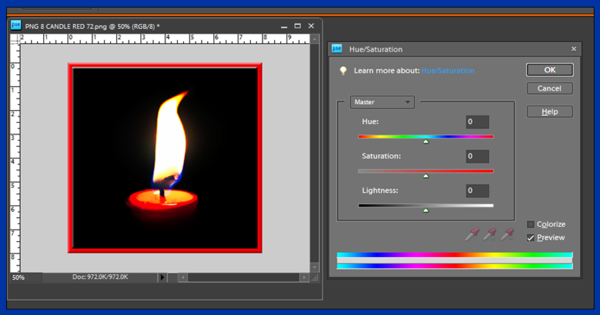 Screenshot 4. Saturating Color in Photoshop